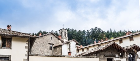 monastery nature: Camaldoli Monastery nestled in the nature reserve of the Casentino in Tuscany