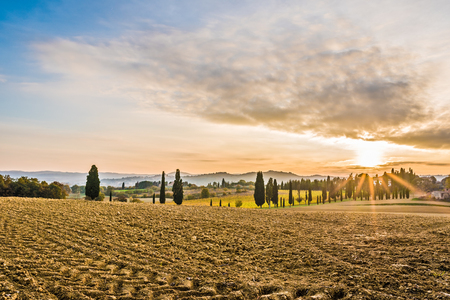 The beautiful countryside of Lucignano in Tuscany