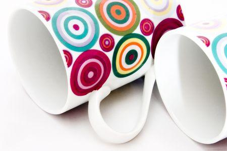 breakable: Colorful ceramic breakable mugs Stock Photo