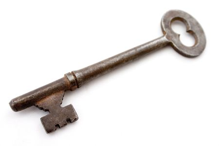bendable: old rusted plain steel safe door key