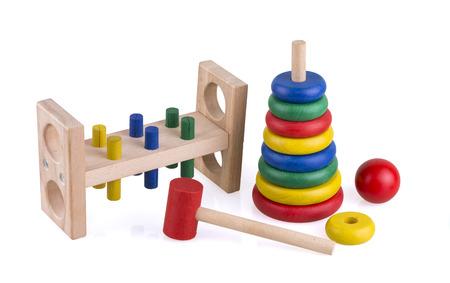 Kleurrijke houten speelgoed Stockfoto