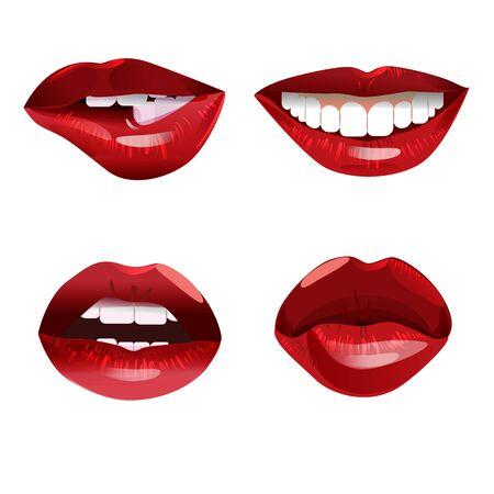 Collection of glossy woman red lips Vektoros illusztráció
