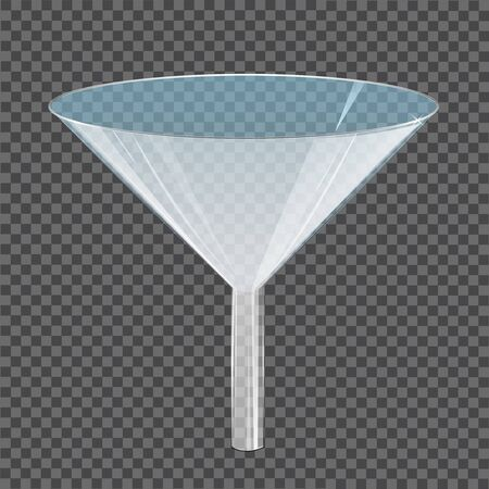Glass transparent funnel. Laboratory tool, device or glassware for filtering liquids, scientific or medical research. 3D design element isolated on clear background. Realistic vector illustration.