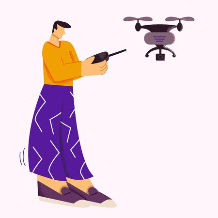 Casual male playing with quadrocopter modern device isolated at white background. Man using remote aerial drone with camera taking photography or video flat vector illustration big style limbs