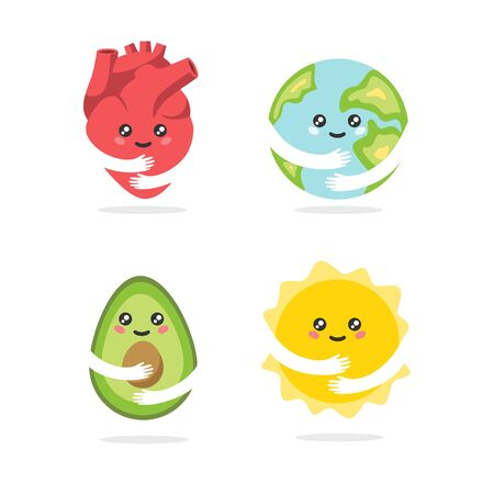 Collection of adorable funny cartoon characters with cute smiling faces and hands isolated on white background - heart, planet Earth, avocado, sun. Flat colorful vector illustration for children.