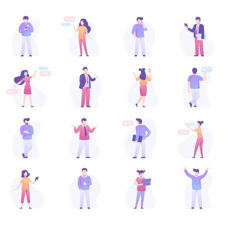 Set van mensen uit het bedrijfsleven en tekstballonnen. Bundel van kantoorpersoneel praten, spreken, presentatie maken, werken op laptopcomputer geïsoleerd op een witte achtergrond. Platte cartoon vectorillustratie.