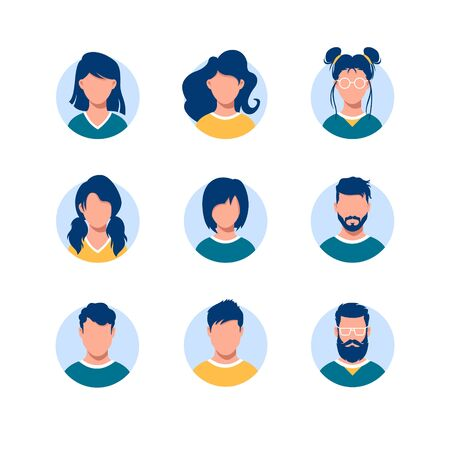 Bundle of round people avatars. Collection of portraits of men and women with different hairstyles in circular frames isolated on white background. Modern vector illustration in flat cartoon style.  イラスト・ベクター素材