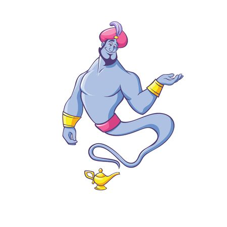 Jinn or genie in turban appearing from golden lamp and making offer Ilustração