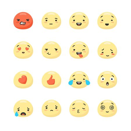 Collection of round yellow smiley faces expressing positive and negative emotions - anger, happiness, confusion, sadness, joy. Bundle of emoticons or facial expressions. Cartoon vector illustration. Illustration