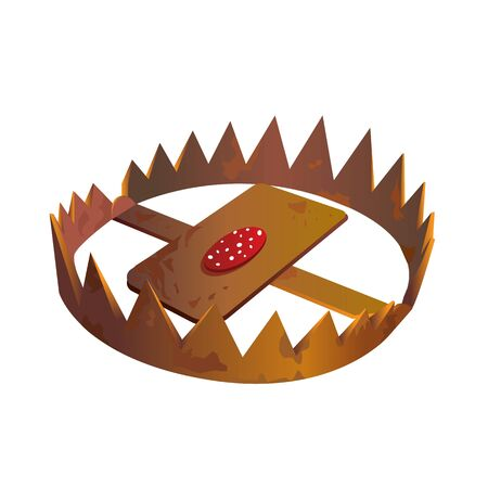 Copper or bronze foothold animal trap with sharp blades on its jaws and slice of sausage in center. Tool used for hunting or catching prey isolated on white background. Cartoon vector illustration. Иллюстрация
