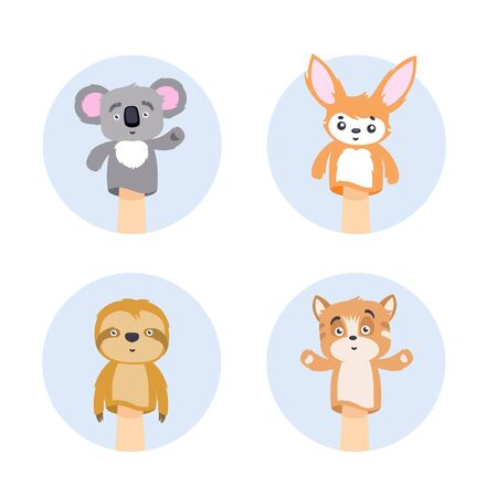 Set of animal hand puppets in circle frame vector flat illustration