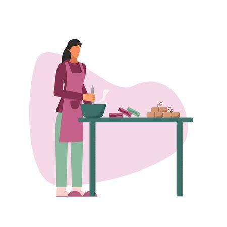 Personaje femenino doméstico haciendo jabón casero en la ilustración plana de vector de mesa. Mujer de dibujos animados que tiene afición artesanal y preparación de un pedido para pequeñas empresas aisladas en blanco