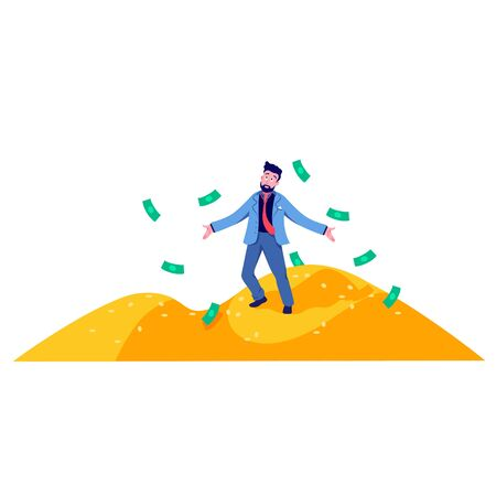 Rich cartoon business man standing on mountain of gold coins vector flat illustration. Character realistic male millionaire magnate posing surrounded by falling cash money isolated on white Çizim