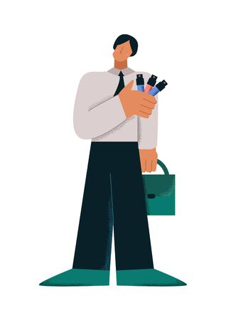 Male cartoon character with briefcase sampling colorful test tube big limbs style. Business man posing with collection of colourful specimen substance vector flat illustration isolated on white 矢量图像