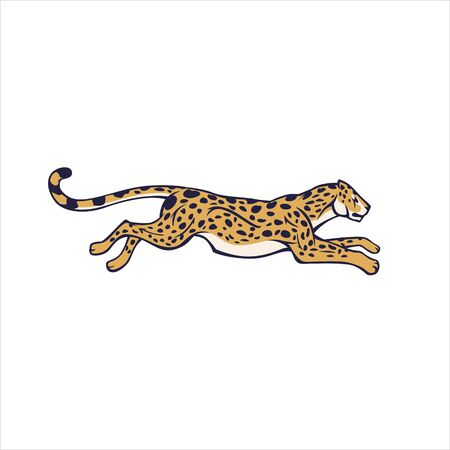 Cartoon animal guepard running fast with high speed isolated at white background