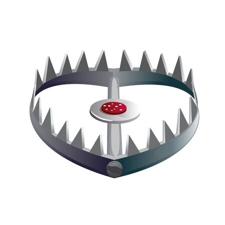 Foothold or leghold bear trap with spikes on its jaws pointed inward and bait in center. Device used for hunting or catching wild animals isolated on white background. Cartoon vector illustration.