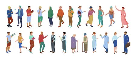 Collection of different cartoon character people isolated on white. Crowd of male and female performing various ages lifestyle and profession trendy isometric vector illustration