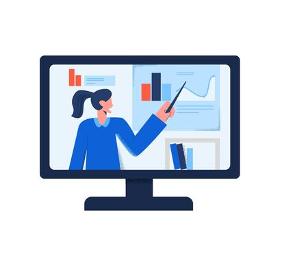 Online translation of webinar video training internet education at computer monitor isolated on white. Business woman e-learning with chart and isometric graphic on screen vector flat illustration Banque d'images - 137273056