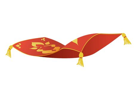 Fairytale Persian magic carpet flying isolated on white background Vector Illustratie
