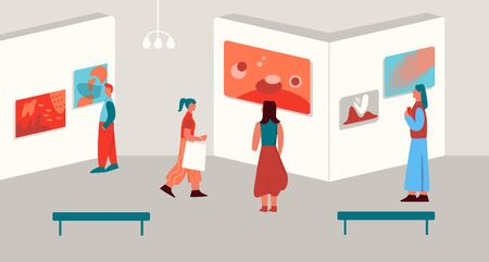 Cartoon visitors admiring modern art paintings exhibits at gallery vector flat illustration