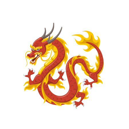 Chinese red dragon symbol of power and wisdom flying isolated on white background Ilustrace