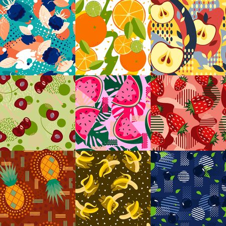 Set of abstract bright fruit seamless patterns.