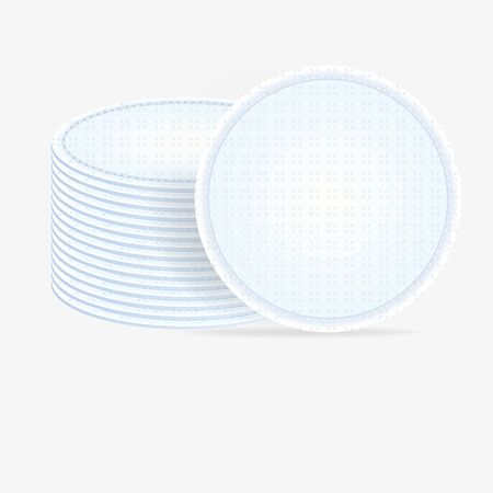 A stack of cosmetic cotton pads on a white background. Vectores