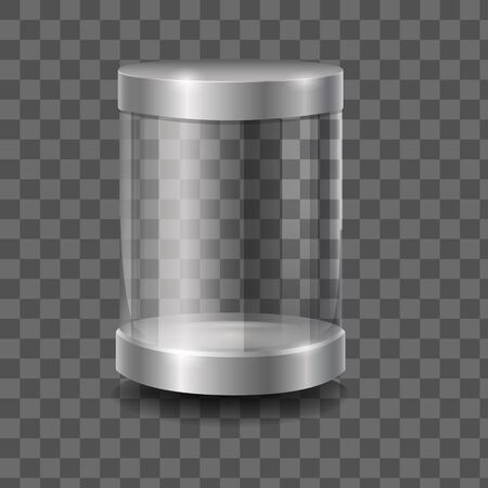 Empty round 3d capsule glass showcase front view vector graphic illustration