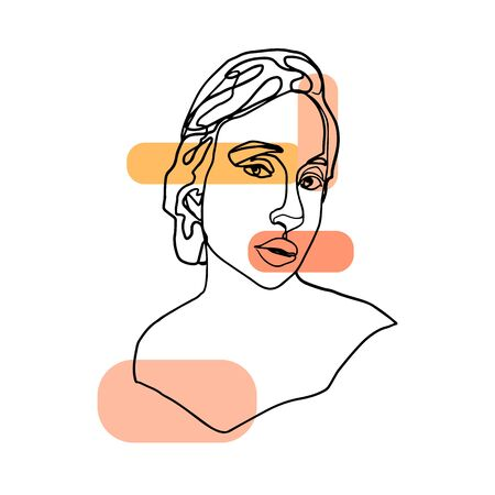 Abstract woman face drawn by a continuous line. Illustration