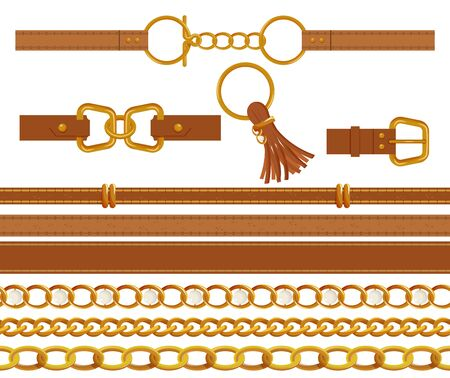Set of gold chains and brown leather belts.