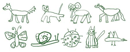 Childrens sketch set of hand drawn animals.