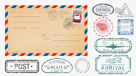 Realistic envelope with various stamps set vector graphic illustration