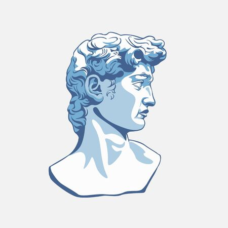 Greek sculpture cartoon male head vector graphic illustration