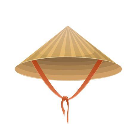 Sombrero chino en forma de cono con corbata sobre un fondo blanco. Ilustración de vector