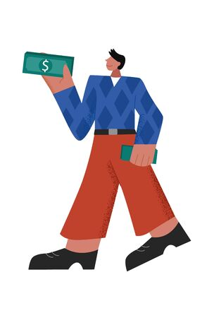 Successful casual cartoon male holding pack of cash back of money refund big limbs style
