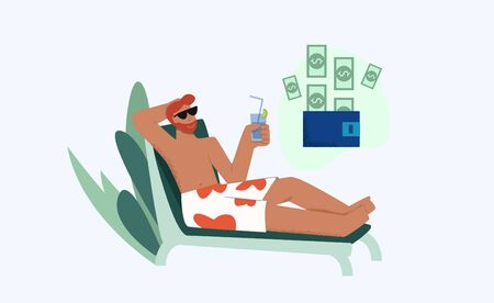 Relaxed male lying on deck chair with juice enjoying passive income vector flat illustration. Holiday man drinking cocktail on beach thinking about cash in wallet isolated on white