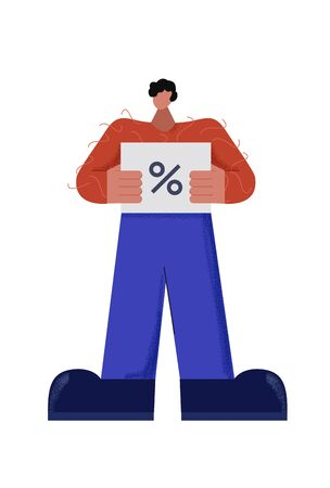 Casual male character holding discount ticket with percent sign vector flat illustration. Cartoon man posing with coupon for money saving during shopping isolated on white