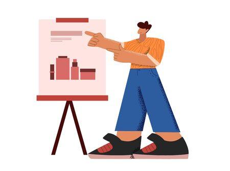 Cartoon male presenting marketing data on presentation screen board pointing on charts