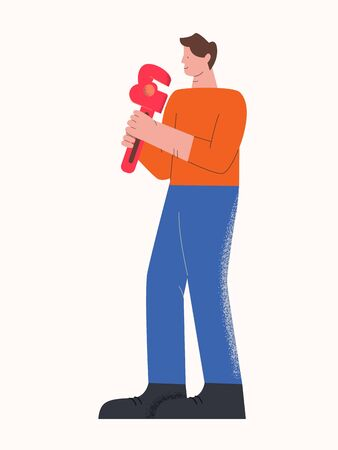 Male casual character smiling plumber carrying tool isolated on white Illustration