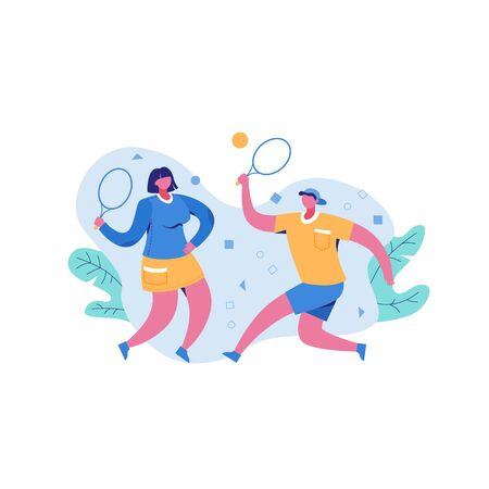 Active man and woman playing volleyball outdoor holding rackets enjoying physical activity vector flat illustration. Couple cartoon character tennis player hitting ball isolated on white