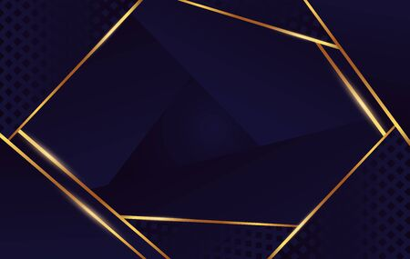 Squared abstract gold geometric shape at dark blue and black background. Golden light lines element at cube and triangle backdrop vector graphic illustration Banque d'images - 138468208