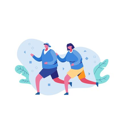 Cartoon female and male enjoying cardio activity running outdoor vector flat illustration. Character couple making sport training together isolated on white Archivio Fotografico - 139038903