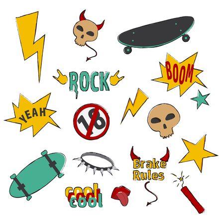 Set of hand drawn cool doodle elements vector illustration. Graphic cartoon skull, skateboard and lightning colored collection isolated on white background. Stylish hipster bundle Ilustração