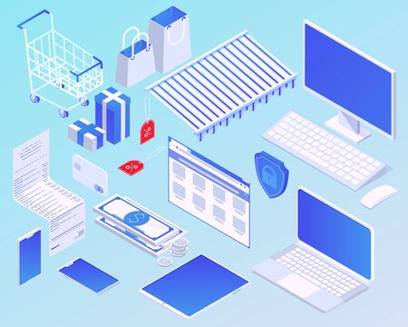 Isometric cartoon online shopping concept vector illustration. Set modern electronic device and design element for internet buying. Smart electronic ecommerce graphic isolated Illustration