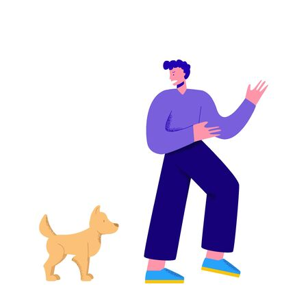 Character man is afraid of a dog. Cartoon man runs away from a dog. Dog fear or phobia.