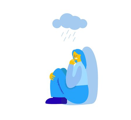 Character girl experiences loneliness over a cloud with rain. 向量圖像