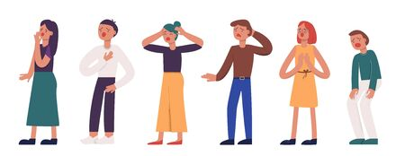 Collection of unhappy suffering cartoon people vector flat illustration Vector Illustration