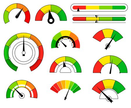 Set of different colored cartoon scale with arrow isolated on white background Illustration
