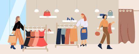 Cartoon female customer inside trendy clothes store vector flat illustration