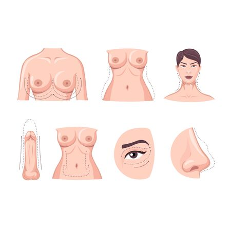 Collection of cartoon plastic surgery body part isolated on white background